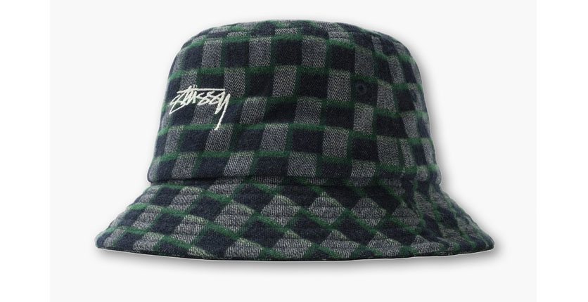 Stüssy Brent Logo-Embroidered Checked Flannel Bucket Hat
