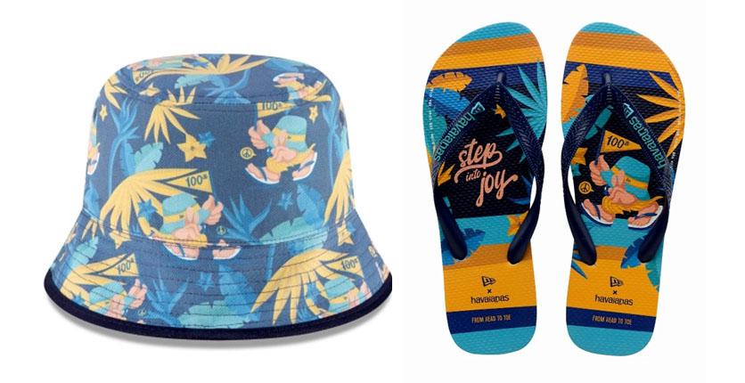 New Era x Havaianas Reversible Bucket Hat + Flip Flops Bundle