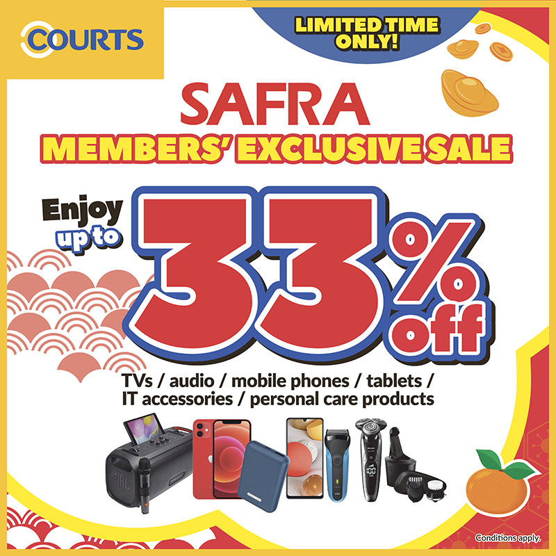 COURTS - Up to 33% off on selected TVs, audio, mobile phones, tablets, IT accessories, personal care products