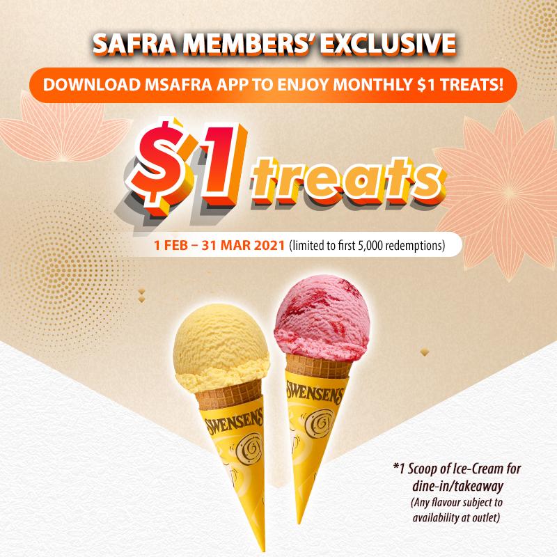 mSAFRA App Exclusive: $1 Swensen's Ice-Cream (One scoop)