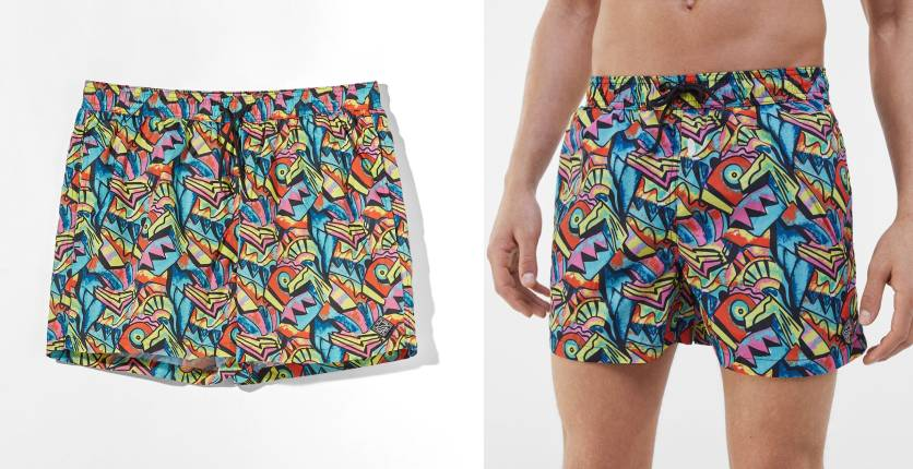 Bershka Printed swimming trunks