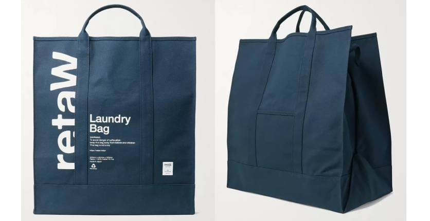 retaW logo-print cotton-canvas laundry bag