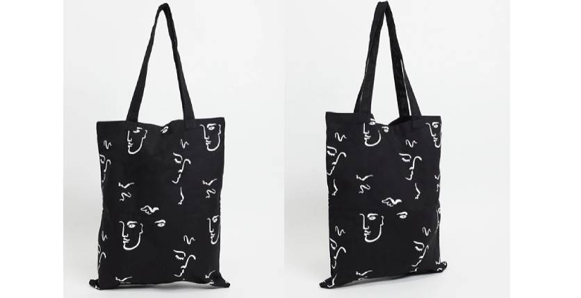ASOS DESIGN heavyweight tote bag in black canvas with hand-drawn print