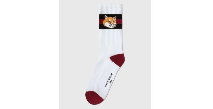 Maison Kitsuné Striped Fox Head socks