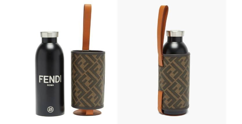 Fendi stainless-steel bottle and FF-logo leather case set