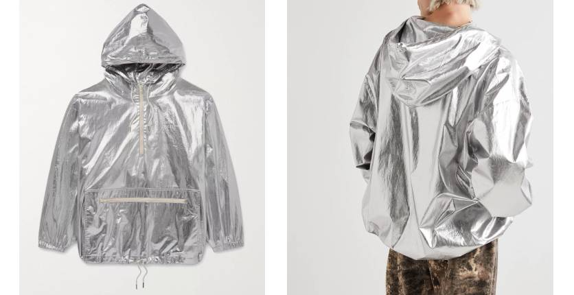 Celine Homme Oversized logo-print metallic shell windbreaker