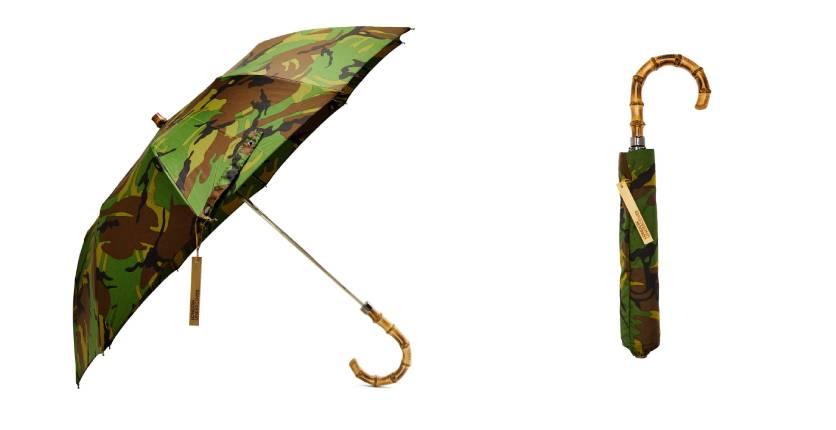 London Undercover Whangee-Handle Telescopic Umbrella in British Woodland Camouflage