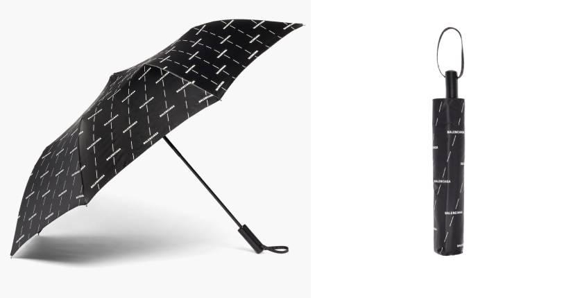 Balenciaga Logo-Print Telescopic Umbrella