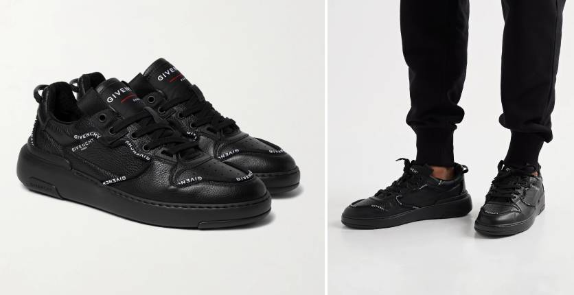 Givenchy Wing Logo-Print Full-Grain Leather Sneakers