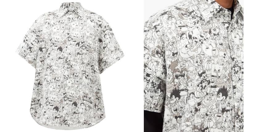 Vetements cartoon-print brushed-cotton shirt