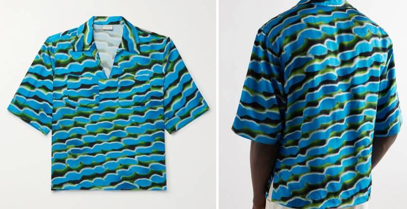 Dries Van Noten + Len Lye printed satin-twill shirt