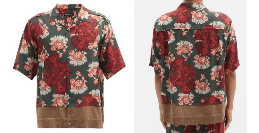 Undercover floral-print contrast-hem shirt