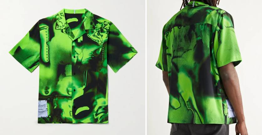 MCQ camp-collar appliquéd printed silk-crepe shirt