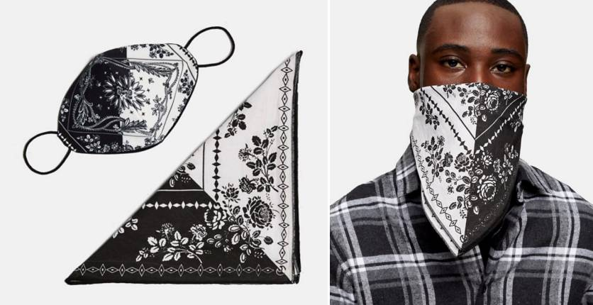 Topman CALM x Roman Kemp Paisley Print Face Mask And Bandana In Black And White