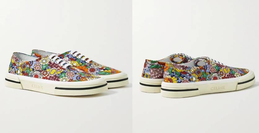 Celine Homme Elliot Floral-print canvas sneakers