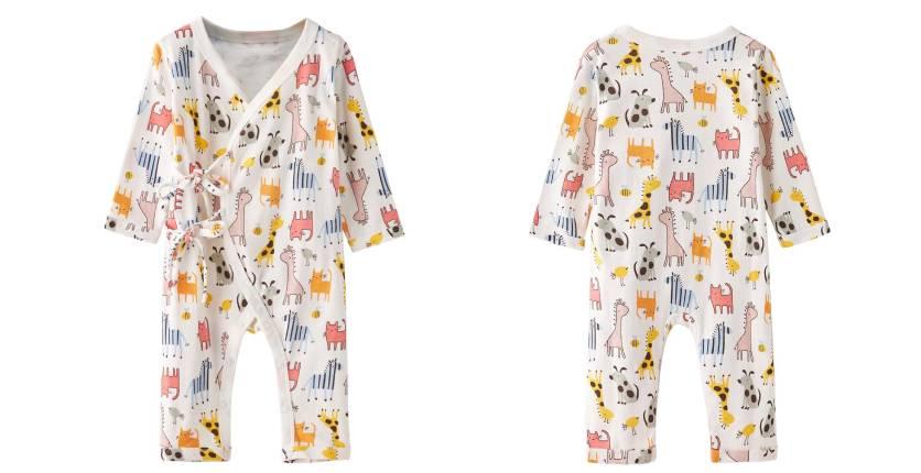 Little Kooma Baby Kimono Sleepsuit All In One Animals