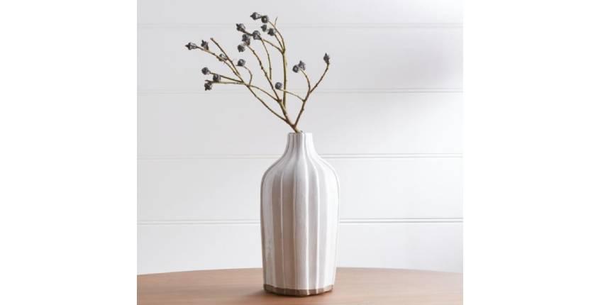 """Crate&Barrel Faye 12"""" Cream Terra Cotta Vase"""