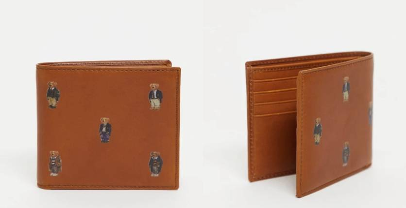 Polo Ralph Lauren Leather Wallet In Tan With All Over Bears