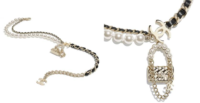 Chanel Necklace In Metal, Lambskin And Glass Pearls