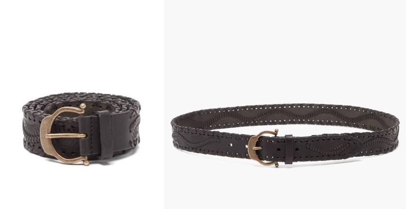 Saint Laurent Horseshoe-buckle whipstitched woven-leather belt