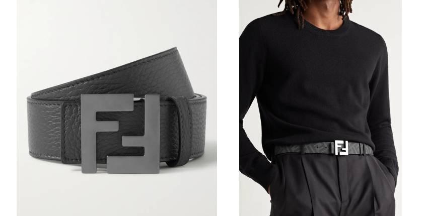 Fendi Reversible logo-print leather belt