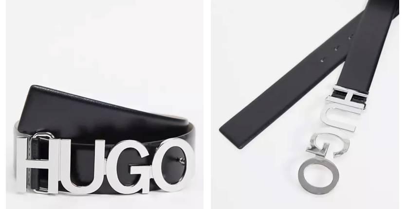 Hugo Boss HUGO Zula leather logo belt in black