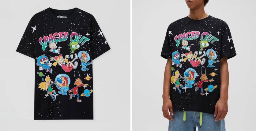 """Pull&Bear Black """"Spaced out"""" T-shirt"""