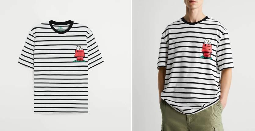 ZARA Striped Snoopy Peanuts T-shirt