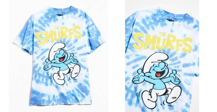 Urban Outfitters The Smurfs tie-dye tee