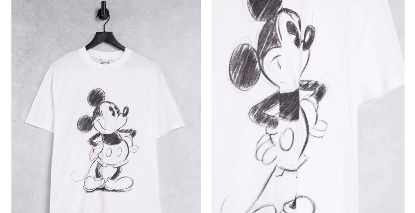 ASOS Design X Disney T-shirt with Mickey Mouse sketch in white