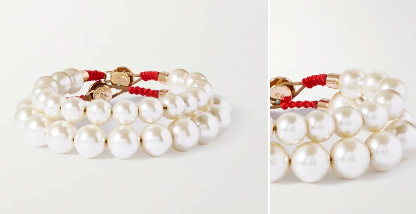 Roxanne Assoulin Pearly Whites set of two gold-tone faux pearl bracelets