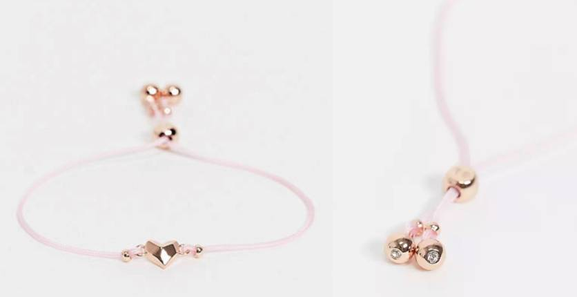 Ted Baker Fillipe heart friendship bracelet in baby pink and rose gold