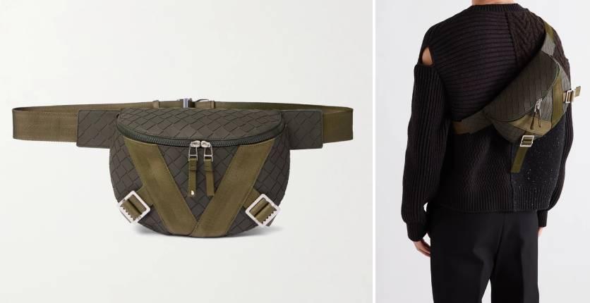 Bottega Veneta Webbing-trimmed Intrecciato rubber belt bag
