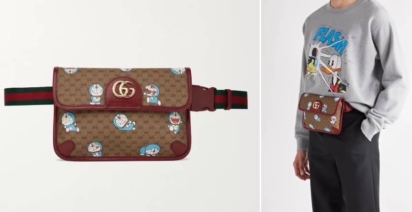 Gucci + Doraemon Leather-trimmed printed monogrammed coated-canvas belt bag