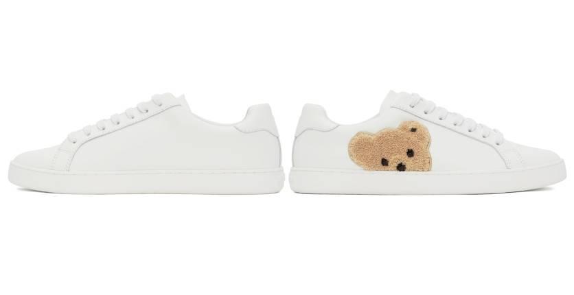 Palm Angels White teddy bear tennis shoes