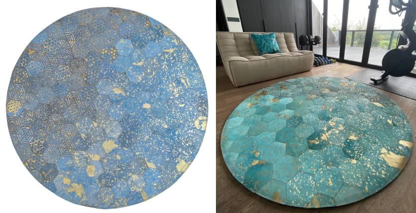 The Cinnamon Room round blue laser-etched metallic hide rug