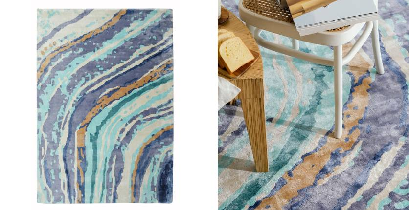 Living DNA purple agate abstract rug