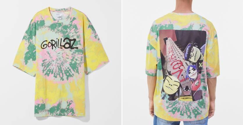 Bershka Extra loose short sleeve tie-dye Gorillaz T-shirt