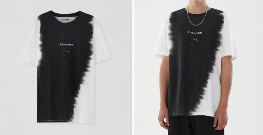 Pull&Bear vertical tie-dye T-shirt with slogan