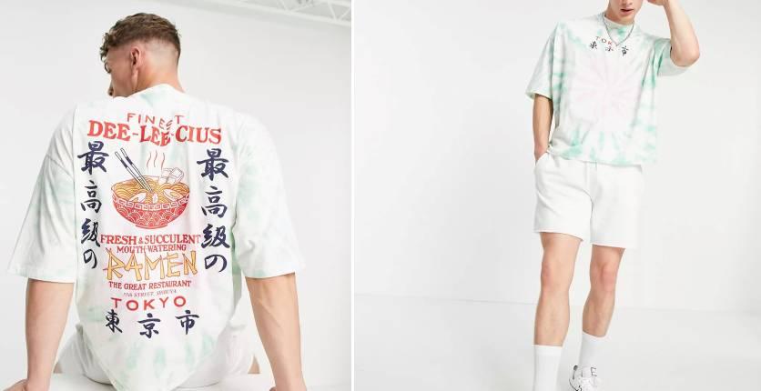 ASOS DESIGN Oversized organic tie dye t-shirt with ramen back print
