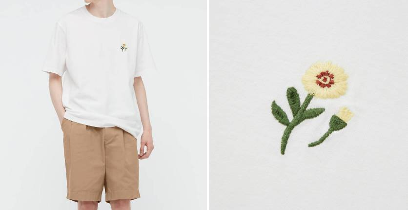 Uniqlo JW Anderson flower embroidery crew neck short sleeve T-shirt