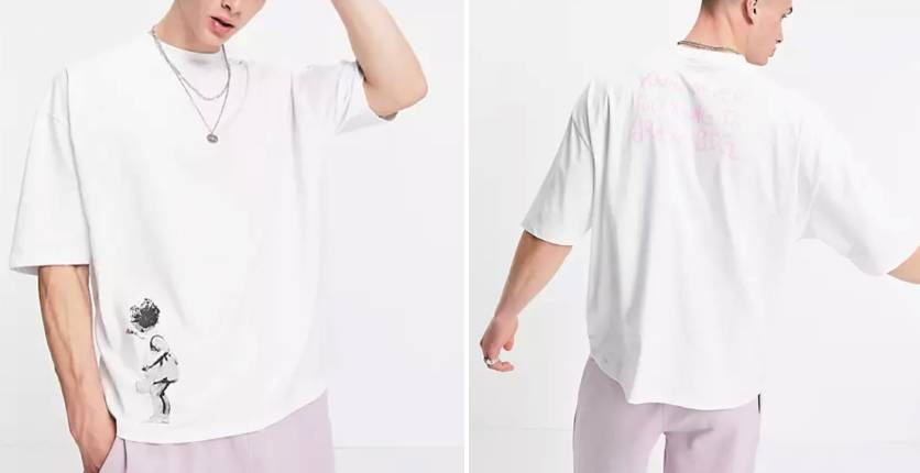 ASOS DESIGN Oversized T-shirt with Banksy art print in white
