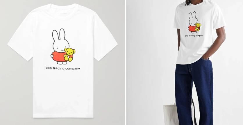 Pop Trading Company + Miffy logo-print cotton-jersey T-shirt