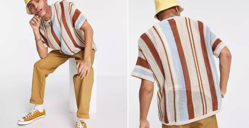 ASOS DESIGN Knitted mesh T-shirt in multicolour stripes