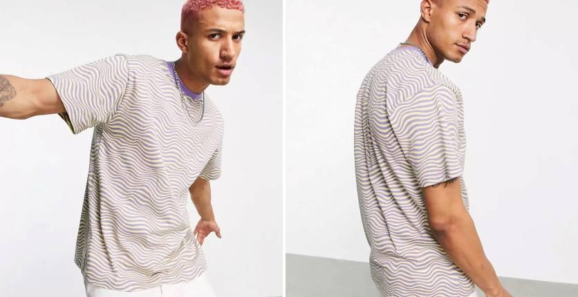 Vintage Supply Wavy stripe oversized T-shirt in purplewhite