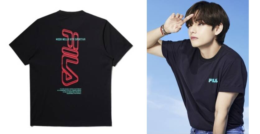 FILA BTS unisex contrast 3D vertical FILA logo print T-shirt
