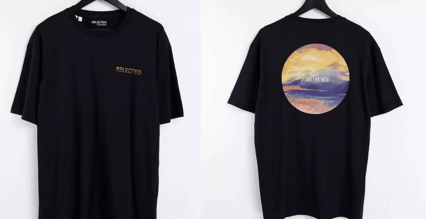 Selected Homme Oversized fit T-shirt with sky back print in black