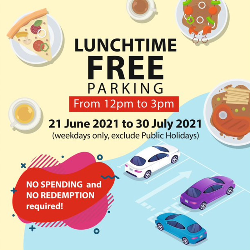 Enjoy free lunchtime parking on weekdays (excluding Public Holidays) from 12pm to 3pm at SAFRA Jurong!
