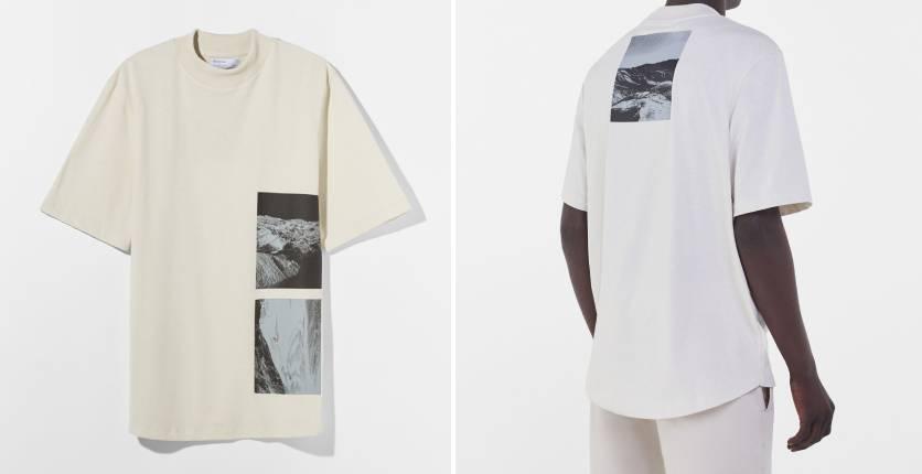 Bershka High-neck printed T-shirt