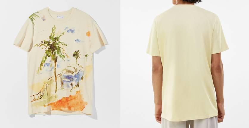 Bershka Short-sleeve palm tree print T-shirt